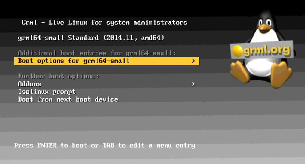 grml boot options
