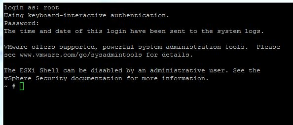 putty login auf esxi