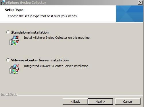 syslogcollector install vcenter